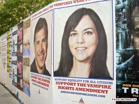 """i manifesti della finta campagna politica """"Vampire Rights amendment"""" per i diritti dei vampiri hanno anticipato il lancio del telefilm True Blood"""