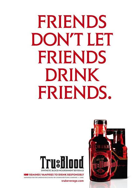 uno dei soggetti della campagna pubblicitaria di affissioni per la bevanda a base di sangue sintetico True Blood