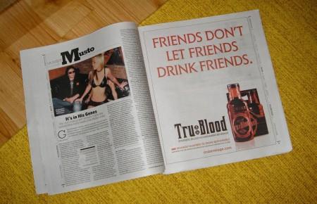 una pagina pubblicitaria per il lancio della serie televisiva True Blood attraverso la propaganda della omonima bibita a base di sangue sintetico