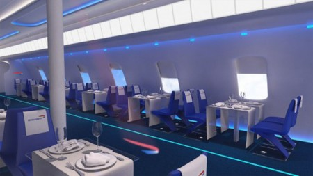 La sala da pranzo del Pop Up Restaurant di British Airways
