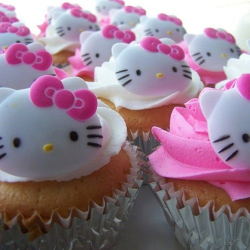 cupcake kawaii con l'effige di Hello Kitty