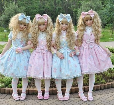 a group of sweet lolitas during Harajuku's Fashion Walk