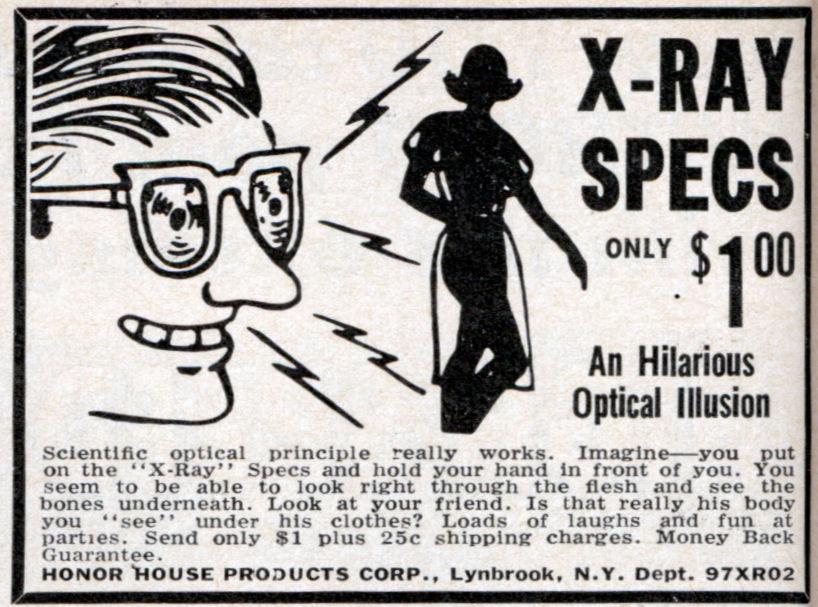 X-Ray Spex o X-Ray Gogs: gli occhiali a raggi X commercializzati negli anni 70 e 80
