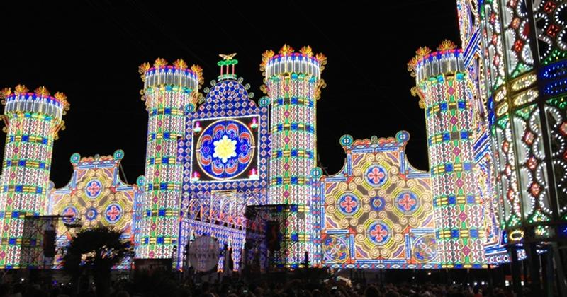 le luminarie della festa di Santa Domenica a Scorrano