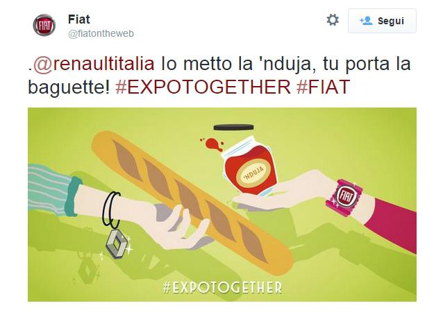 Il soggetto dedicato a Renault della campagna Twitter di Fiat #Expotogether - www.gorgonia.it