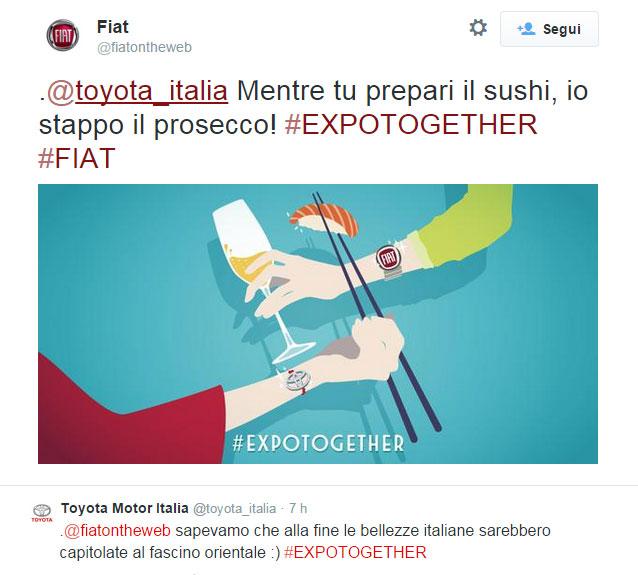 Il soggetto dedicato a Toyota della campagna Twitter di Fiat #Expotogether - www.gorgonia.it
