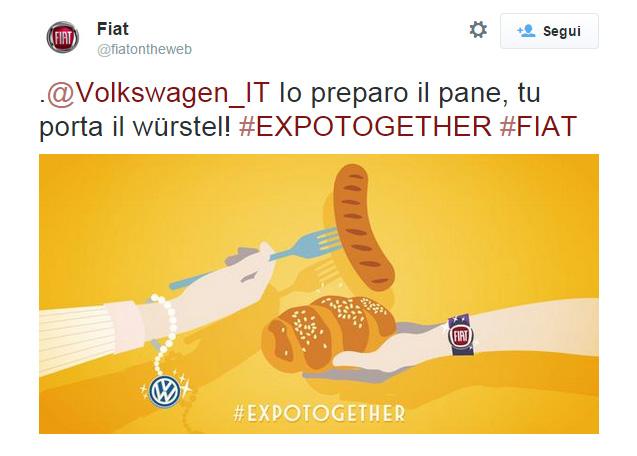 Il soggetto dedicato a Volkswagen della campagna Twitter di Fiat #Expotogether - www.gorgonia.it
