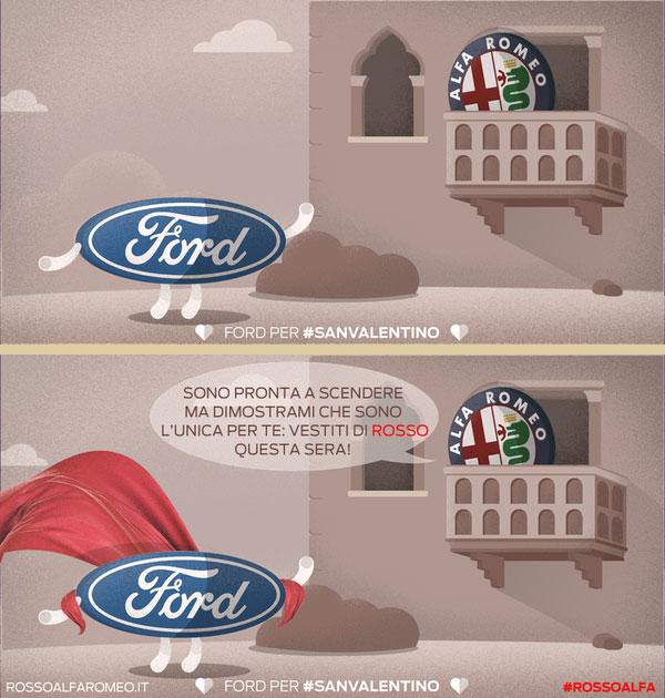 Il botta e risposta di San Valentino di ford e alfa romeo su Twitter - www.gorgonia.it