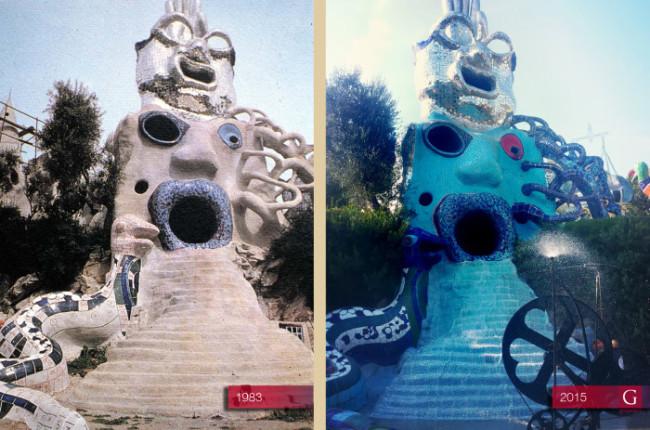 "L'opera monumentale ""Il Mago"" di Niki De Saint Phalle durante i lavori nel 1983 e oggi - Carefully selected by Gorgonia www.gorgonia.it"