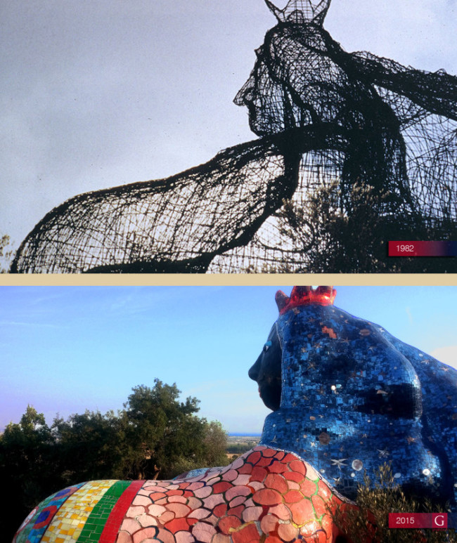 "L'opera monumentale ""L'Imperatrice"" di Niki De Saint Phalle durante i lavori nel 1982 e oggi - Carefully selected by Gorgonia www.gorgonia.it"
