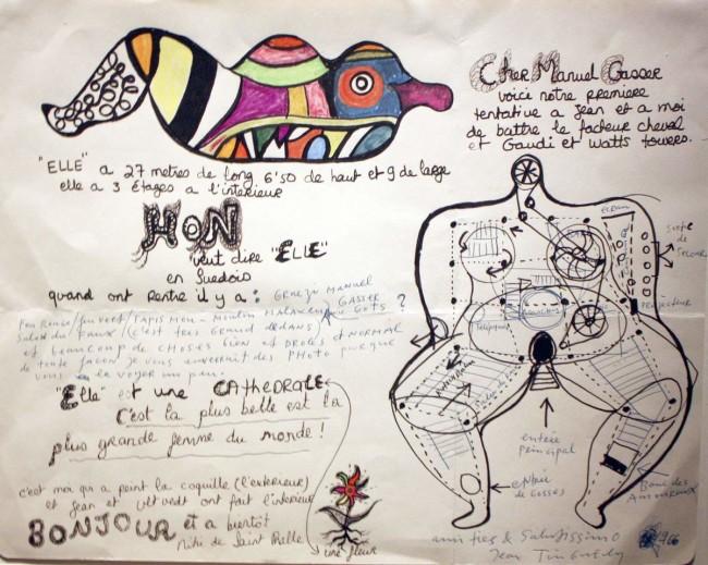 "Disegno preparatorio per l'opera abitabile ""Hon"" di Jean Tinguely e Niki De Saint Phalle - Carefully selected by Gorgonia www.gorgonia.it"